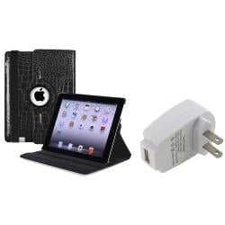 Black 360-Degree Swivel Leather Case/ Travel Charger for Apple iPad 3