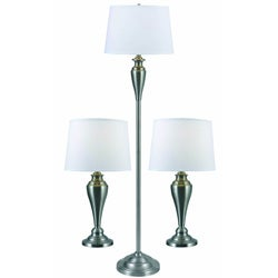 King Brushed Steel 3-pack Lamps