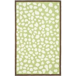 Handmade Children's Safari Green/ Ivory Wool Rug (8' x 10')