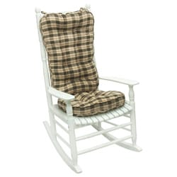 Olive Plaid Jumbo Rocking Chair Cushion