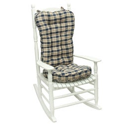 Blue Plaid Jumbo Rocking Chair Cushion