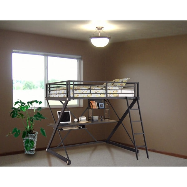 Powell Z-Bedroom Full-size Study Loft Bunk Bed