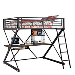 Z-Bedroom Full Size Study Loft Bunk Bed