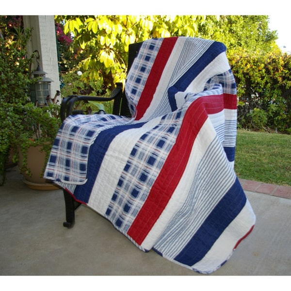 Greenland Home Fashions Nautical Stripes Quilted Throw