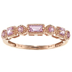 14k Rose Gold 3/8ct TGW Pink Sapphire Band