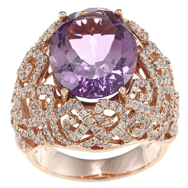14k Rose-gold Amethyst and 1 5/8ct TDW White Diamond Ring (HI, I1)