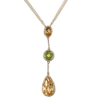 14k Yellow Gold Peridot Citrine 1/2ct TDW White Diamond Pendant