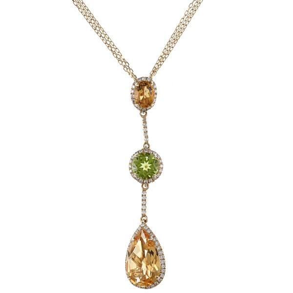 14k Yellow Gold Peridot Citrine 1/2ct TDW White Diamond Pendant
