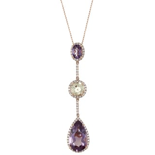 14k Rose Gold Amethyst, Lemon Quartz and 1/2ct TDW White Diamond Pendant