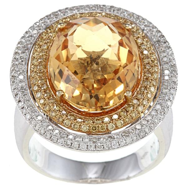 14k White Gold Citrine 7/8ct TDW White Diamond Ring (GH,SI1)