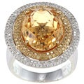 14k White Gold Citrine 7/8ct TDW White Diamond Ring (GH,SI1)