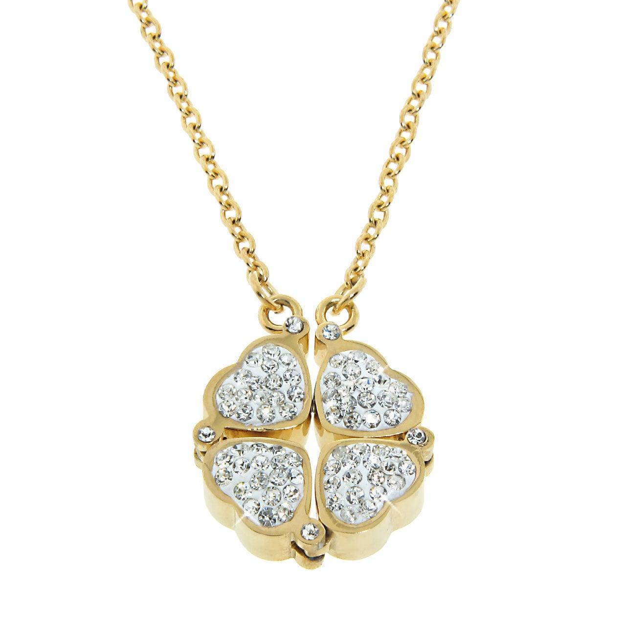 Eternally Haute Goldtone Steel Czech Crystal Heart To Heart Necklace