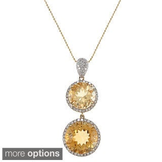 14k Yellow Gold Citrine 1/2ct TDW White Diamond Pendant (I, I1)