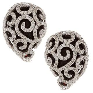 18k Rose Gold Onyx and 1 7/8ct TDW Diamond Earrings (H-I, SI1-SI2)