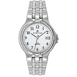 Certus Paris Men's Stainless-Steel White Dial Date Quartz Watch with Black Hands