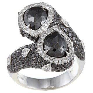 18k Gold 4ct TDW Black and White Bypass Wrap-around Diamond Ring (HI, I1)