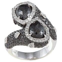 18k Gold 4ct TDW Black and White Bypass Wrap-around Diamond Ring (HI, I1)
