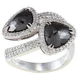 18k White Gold 3 1/5ct TDW Black Diamond Bypass Wrap-around Ring (HI, I1)