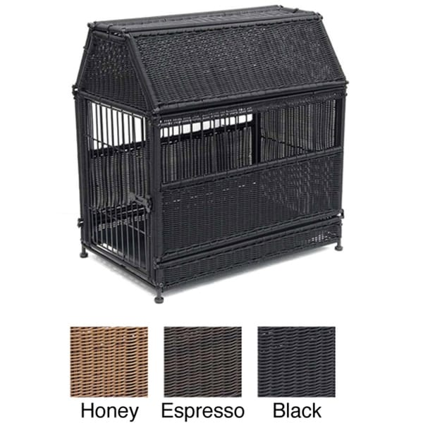 Wicker Dog House with Storage