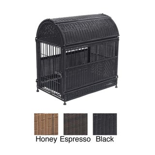 Small Oval Wicker Dog House with Storage