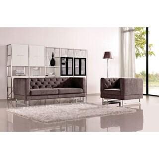 DG Casa Dark Raisin Grey Allegro Sofa and Chair Set
