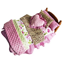 AnnLoren Shabby Floral & Zebra Bedding 7-piece Set for American Girl Doll