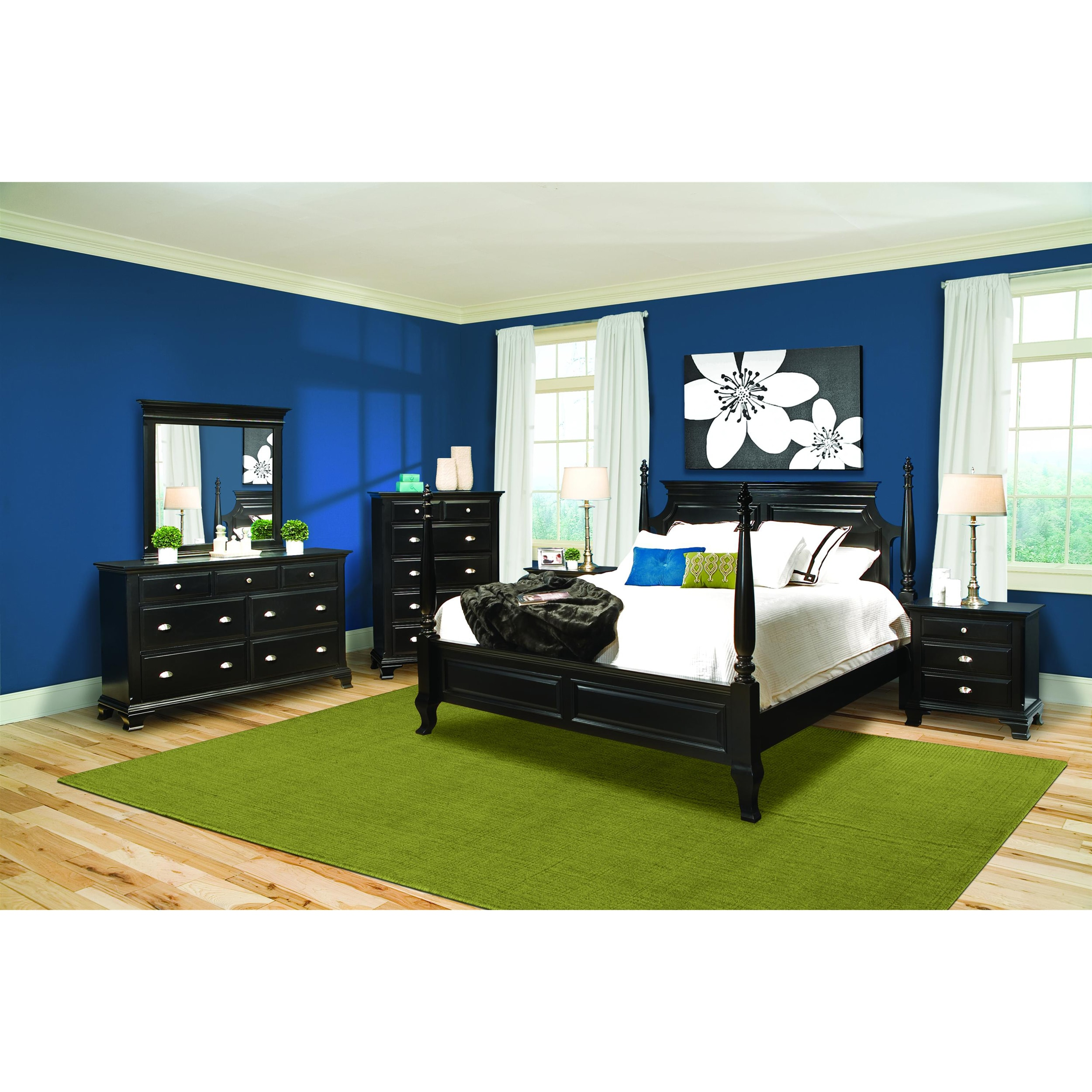 Vaughan Chelsea Black Contemporary King Bedroom Set (Set of 4)