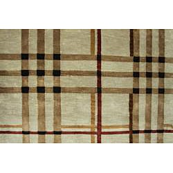 Hand-Knotted Tan New Zealand Wool Rug (6' x 9')