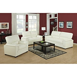 Ivory Bonded Leather Love Seat
