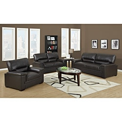 Chocolate Brown Bonded Leather Love Seat Sofa