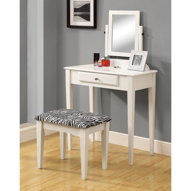 white two piece vanity set 14354885 shopping the best prices on monarch. Black Bedroom Furniture Sets. Home Design Ideas