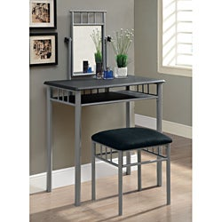 Black/ Silver Metal 2-piece Vanity Set
