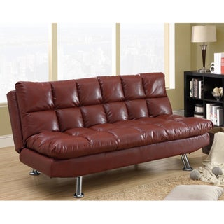 Red Leather Tufted Design Futon