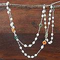 Silver 'Pure Heart of Peace' Pearl Jade Necklace (6.5-7 mm) (Thailand)