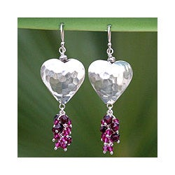 Sterling Silver 'Beating Hearts' Garnet Earrings (Thailand)