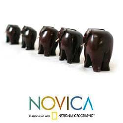 Set of 5 Handcrafted Ebony Wood 'Elephant Family' Sculptures (Ghana)