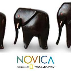 Set of 5 Handcrafted Ebony Wood 'Elephant Family' Sculptures (Ghana)
