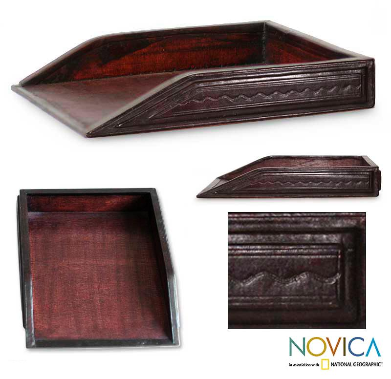 Handcrafted Leather 'Paper House' Desk Tray (Ghana)