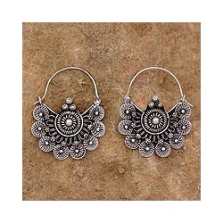 Sterling Silver 'Glorious Dawn' Hoop Earrings (India)