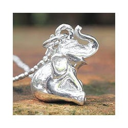 Sterling Silver 'Laughing Elephant' Necklace (Thailand)