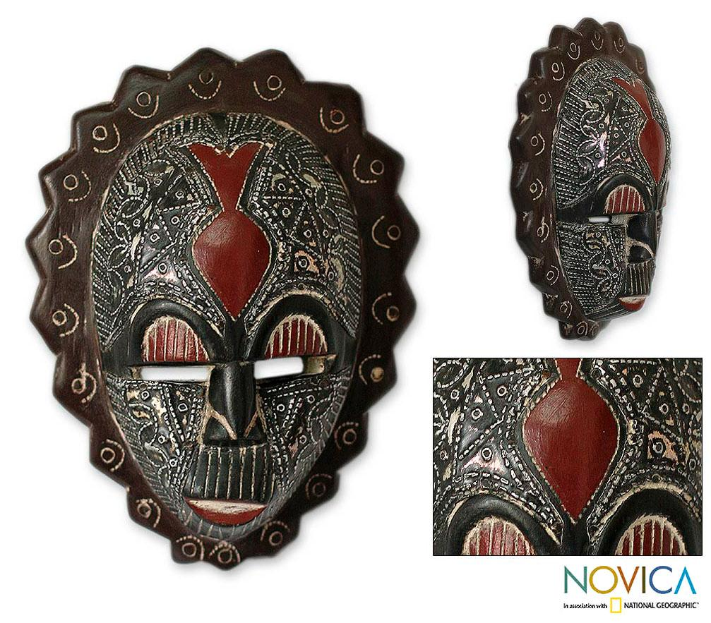 Happiness Ornate Carved Black Sese Wood with Multicolor Aluminum Details Original Signed African Artwork Wall Art Mask (Ghana)
