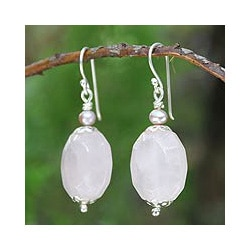 Silver 'Floral Illusions' Quartz Pearl Earrings (3.5-4 mm) (Thailand)
