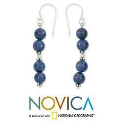 Sterling Silver 'Pillars of Love' Lapis Lazuli Earrings  (India)