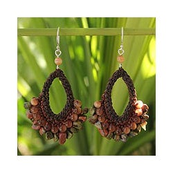 Handcrafted Sterling Silver 'Deva Forest' Unakite Earrings (Thailand)