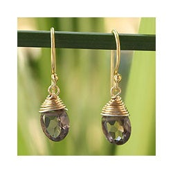 Gold Overlay 'Sublime Elegance' Smoky Quartz Earrings (Thailand)