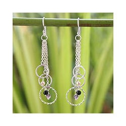Silver 'Siam Chimes' Pearl Multi-gemstone Earrings (3.5 mm) (Thailand)