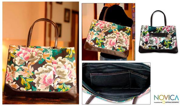 Recycled Cotton 'Bengal Bouquet' Medium Shoulder Bag (India)