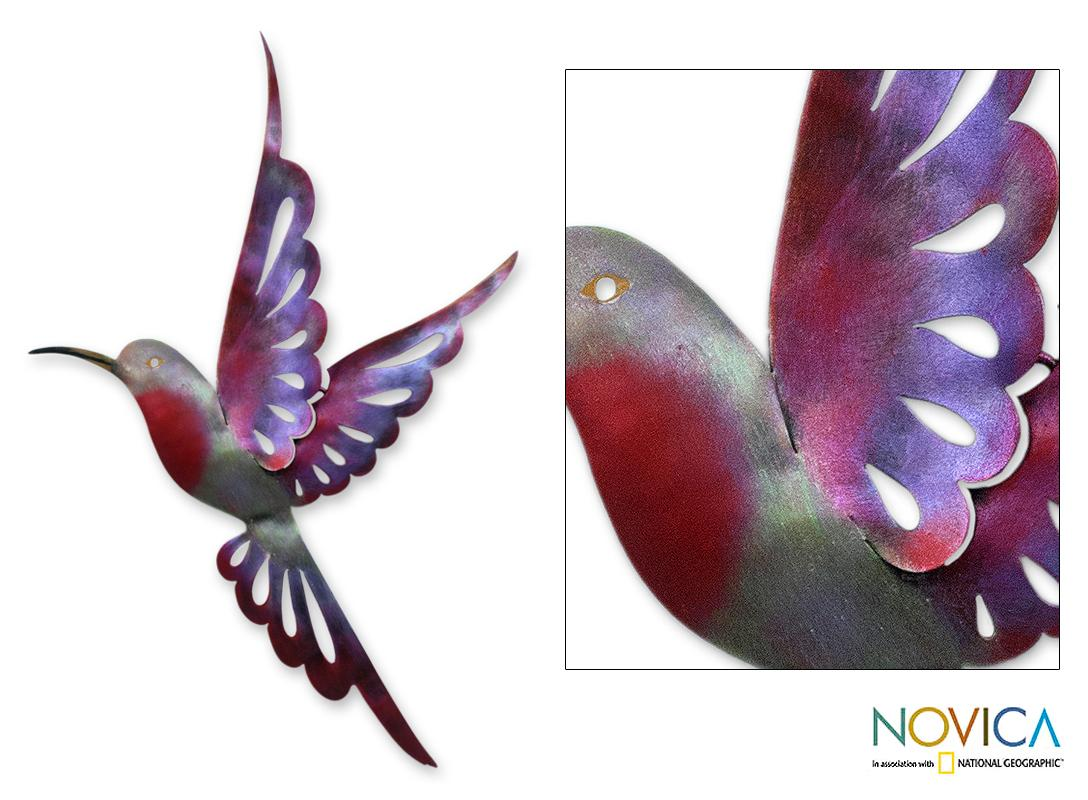 Handcrafted Iron 'Violet Hummingbird' Wall Sculpture , Handmade in Mexico