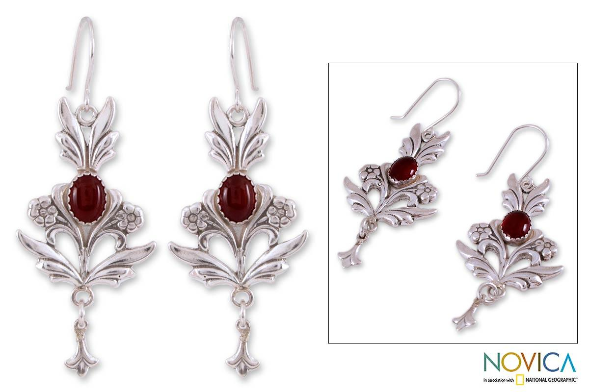 Sterling Silver 'Romance' Carnelian Dangle Earrings (Mexico)