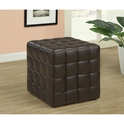 Dark Brown Leather-Look Ottoman